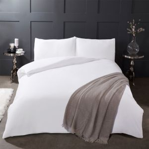 Highams 100% Brushed Cotton Flanelette Duvet Cover Set - Pure White
