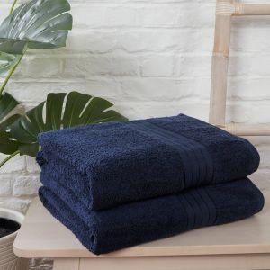 Brentfords 100% Cotton 2 Bath Sheets Towel, Navy Blue