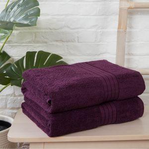 Luxury 100% Cotton 2 Jumbo Bath Sheets Large Towels Bale - Purple