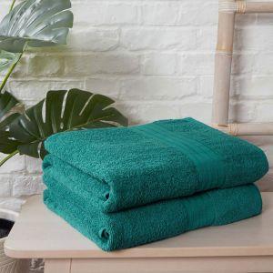 Luxury 100% Cotton 2 Jumbo Bath Sheets Large Towels Bale - Teal