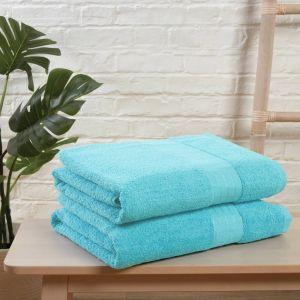 Brentfords 100% Cotton 2 Jumbo Bath Sheets Large Towels Bale - Aqua