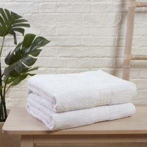 Brentfords 2 Large Jumbo Bath Sheets - White