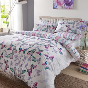 Watercolour Butterfly Duvet Cover Set - Multi Coloured