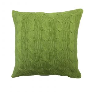 Highams Cable Knit 100% Cotton Cushion Cover - Apple Green