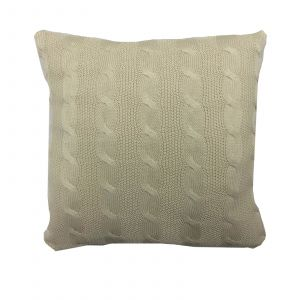 Highams Cable Knit 100% Cotton Cushion Cover - Natural Beige