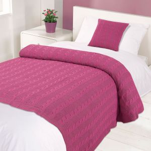 Highams Cable Knit 100% Cotton Throw - Pink