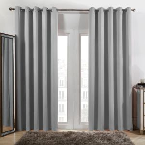 Oxford Blackout Eyelet Curtains Silver
