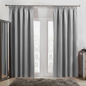 "Dreamscene Pencil Pleat Thermal Blackout Curtains - Silver, 46"" x 54"""