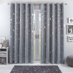 Dreamscene Star Blackout Galaxy Kids Curtains - Silver Grey