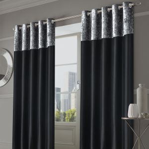 Sienna Home Manhattan Crushed Velvet Band Eyelet Curtains - Black