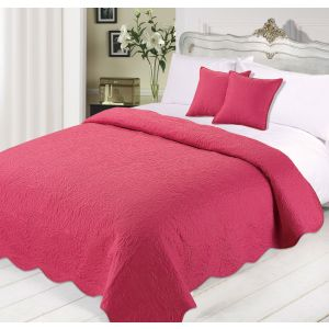 Quilted Embossed Bedspread with Cushions Set -Raspberry