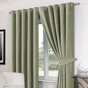 """Chenille Eyelet Blackout Curtains 46""""x54"""" - Soft Green"""