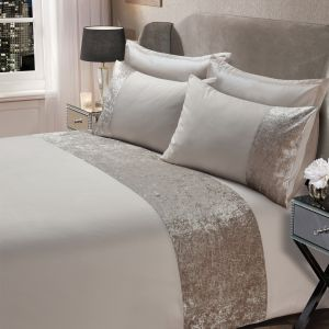 Sienna Crushed Velvet Band Duvet Set - Natural Champagne