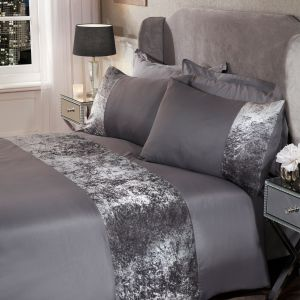 Sienna Crushed Velvet Band Duvet Set - Silver Grey
