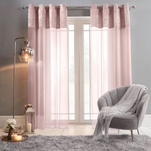 "Sienna Crushed Velvet Voile Net Curtains Eyelet, Blush Pink - 55"" x 87"""