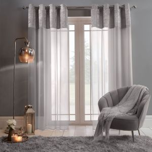 "Sienna Crushed Velvet Voile Net Curtains Eyelet, Silver Grey - 55"" x 87"""
