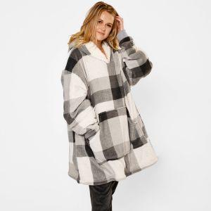 Dreamscene Winter Check Sherpa Hoodie Blanket