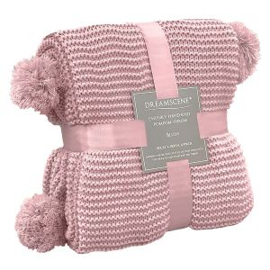 Dreamscene Large Chunky Knit Pom Pom Throw, Blush Pink - 150 x 180cm