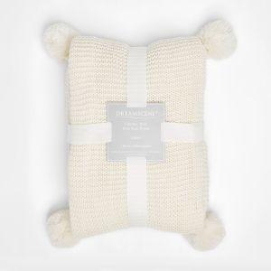 Dreamscene Chunky Knit Throw, Cream - 150 x 180cm