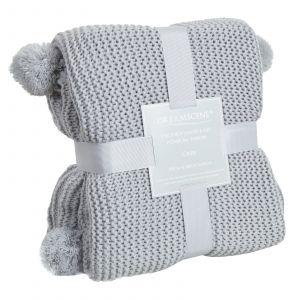 Dreamscene Large Chunky Knit Pom Pom Throw, Silver Grey - 150 x 180cm