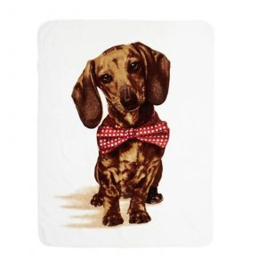 Dreamscene Faux Fur Mink Throw, Dachshund - 150 x 200cm