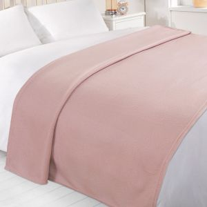 Dreamscene Plain Fleece Throw, Blush Pink - 120 x 150 cm
