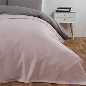 Dreamscene Plain Fleece Throw, Blush Pink - 120 x 150 cm