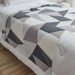 Dreamscene Shapes Geometric Fleece Throw, Grey - 120 x 150cm