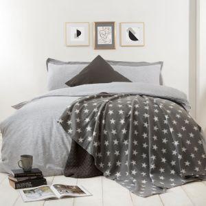 Dreamscene Star Print Fleece Throw, Grey - 120 x 150 cm