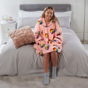 Dreamscene Rainbow Hearts Hoodie Blanket - Blush