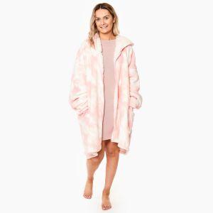 Dreamscene Tie Dye Zip-Up Hoodie Blanket One Size - Blush