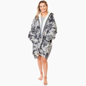 Dreamscene Tie Dye Zip-Up Hoodie Blanket, One Size - Charcoal Grey