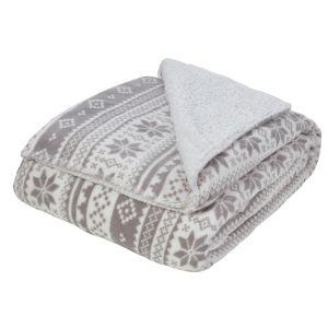 Dreamscene Nordic Print Sherpa Fleece Throw, Grey/White - 150 x 180cm
