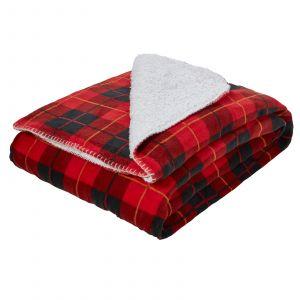 Dreamscene Large Tartan Sherpa Flannel Fleece Throw Blanket, Check Red - 150 x 180cm