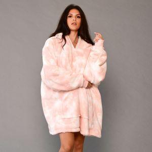 Dreamscene Tie Dye Hoodie Blanket - Blush Pink