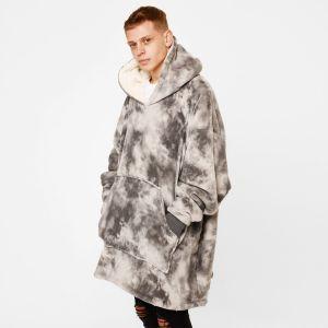 Dreamscene Tie Dye Hoodie Blanket - Charcoal Grey