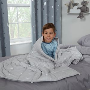 Dreamscene Kids Star Teddy Fleece Weighted Blanket, Silver Grey- 3kg