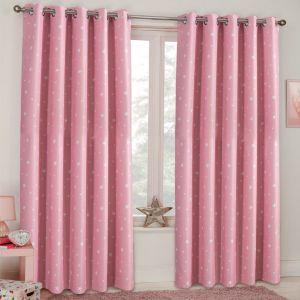 Dreamscene Stars Blackout Eyelet Curtains - Blush Pink