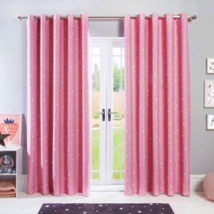 Dreamscene Stars Blackout Eyelet Curtains - Blush Pink