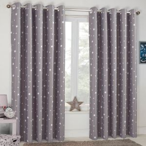 Dreamscene Stars Blackout Eyelet Curtains - Charcoal Grey