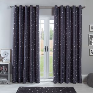 Dreamscene Stars Blackout Eyelet Curtains - Charcoal Grey