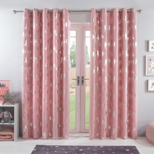 Dreamscene Unicorn Eyelet Blackout Curtains - Pink