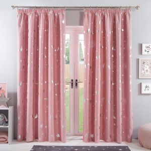 Dreamscene Galaxy Star Blackout Pencil Pleat Curtains - Blush Pink