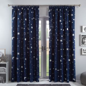 Dreamscene Galaxy Star Blackout Pencil Pleat Curtains - Navy Blue