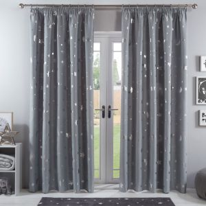 Dreamscene Galaxy Star Blackout Pencil Pleat Curtains - Silver Grey