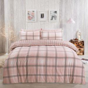 Dreamscene Aspen Brushed Cotton Duvet Set - Blush