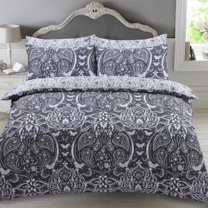 Dreamscene Butterfly Damask Duvet Set - Black
