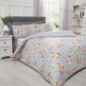Dreamscene Blushing Rose Duvet Set - Grey