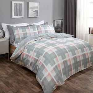 Dreamscene Denim Check Duvet Cover Set - Grey/Blush