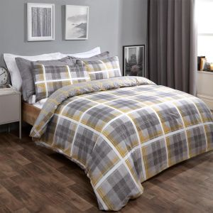 Dreamscene Denim Check Duvet Cover Set - Grey/Ochre